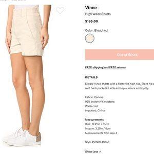 VINCE high waist shorts NWOT
